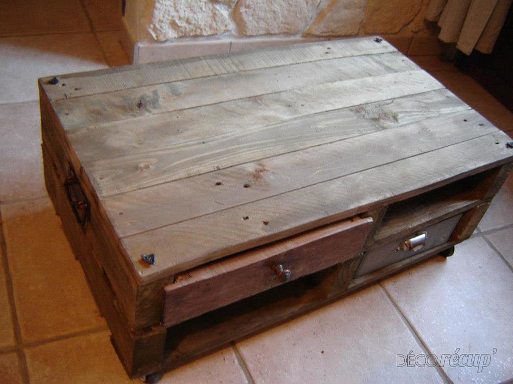 Table basse palette caisse vin - Palette en table basse ...