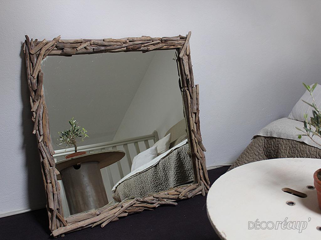 Miroir bois flotte tuto for Cadre miroir bois flotte