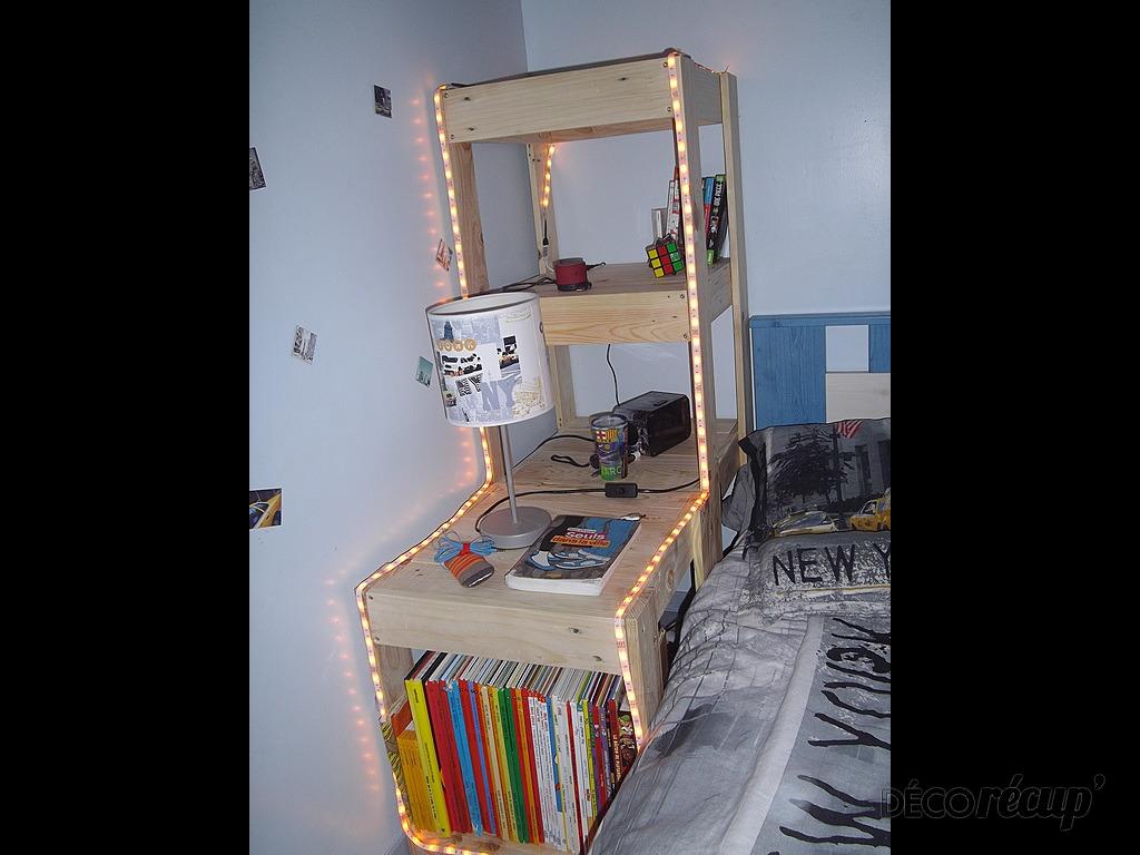 table de nuit en palette de r cup ration par mathieu landais. Black Bedroom Furniture Sets. Home Design Ideas