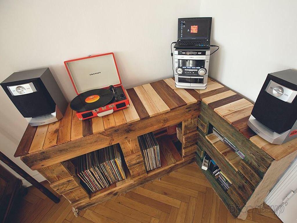 meuble hifi palette. Black Bedroom Furniture Sets. Home Design Ideas