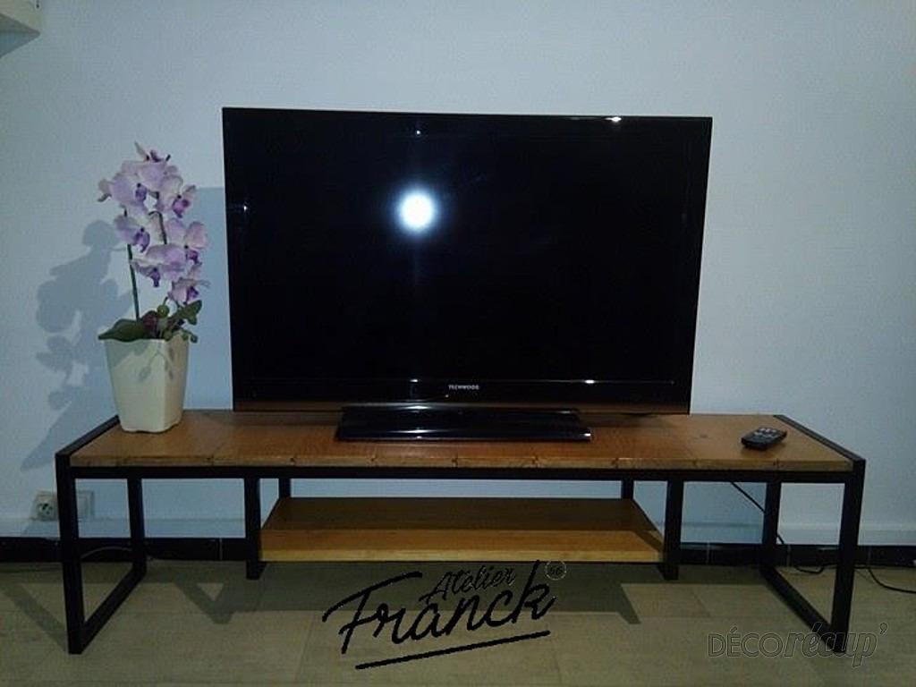 Meuble Tv Acier Bois Par Atelier Franck 66 # Meuble Tv Bois Flotte